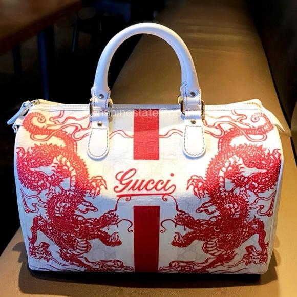 92c4014cbb5 Gucci Handbags - Rare GUCCI White Red GG Shanghai Dragon Boston Bag